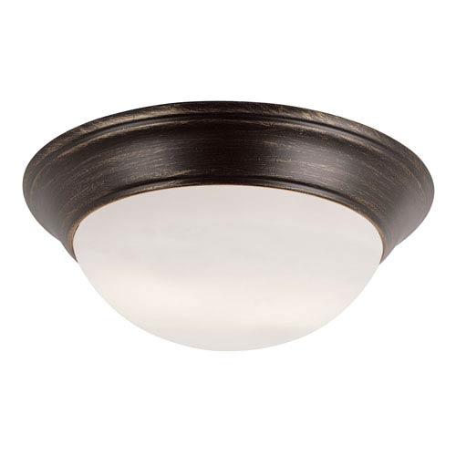 Trans Globe Lighting Rubbed Oil Bronze Two 6.5-Inch Light Flush Mount