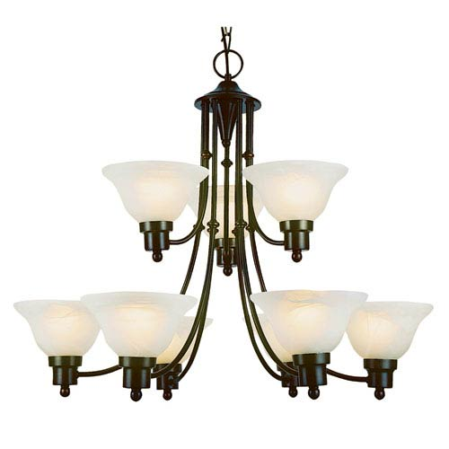 Contemporary Nine-Light Weathered Bronze Chandelier
