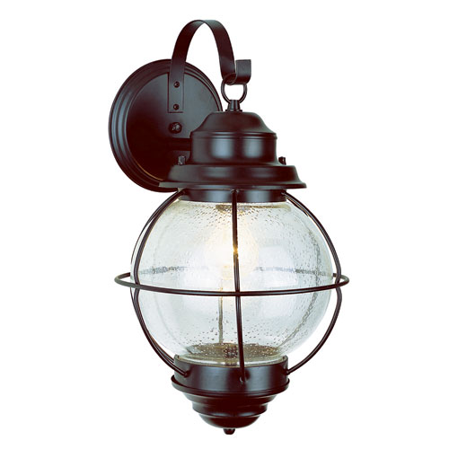 Trans Globe Lighting Onion Rustic Bronze Lantern Wall Mount 19-Inch with Clear Seeded Glass