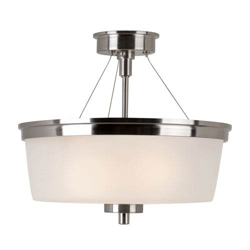 Trans Globe Lighting Brushed Nickel Urban Swag 14-Inch Semi-Flush Mount with White Frosted Glass
