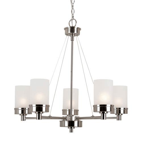 Brushed Nickel Urban Swag 5 Light Chandelier with White Frosted Glass