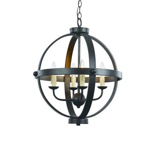 Rubbed Oil Bronze Four-Light 19-Inch Wide Globe Pendant
