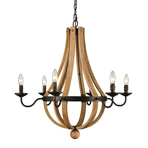 Woodland Weathered Bronze Six-Light Chandelier