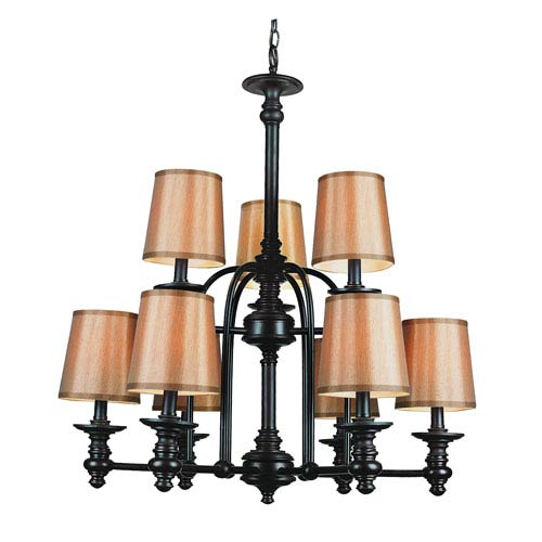 Trans Globe Lighting Modern Meets Traditional Rubbed Oil Bronze Nine-Light Chandelier