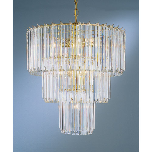 Back To Basics Nine-Light Polished Brass Acrylic Chandelier