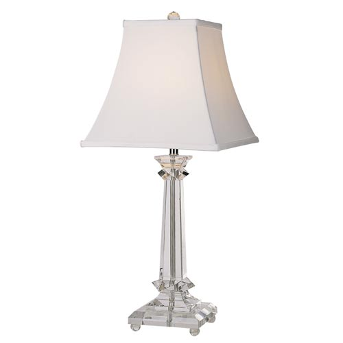 One-Light Chrome Crystal Table Lamp with Shade