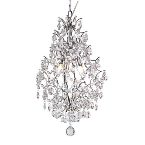 Trans Globe Lighting Versailles Polished Chrome Three Light Drop Pendant with Cut Crystal Bead Strands