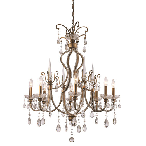 Trans Globe Lighting Juglans Antique Gold Eight-Light Chandelier