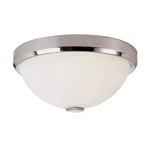 Polished Chrome LED Squared Cap 13-Inch Flush Mount with White Frosted Glass