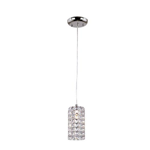 Polished Chrome Cube Drop Crystal Pendant with Clear Crystal Insets