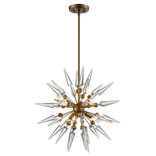 trans globe lighting collins antique gold six light pendant mdn 1454