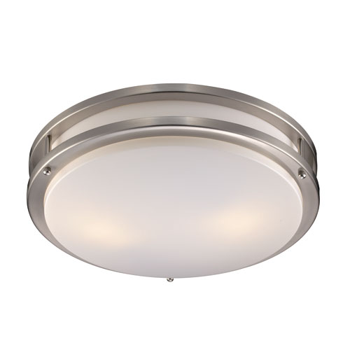 Brush Nickel 16-Inch Two-Light Flushmount