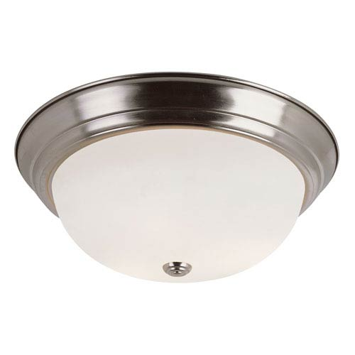 Trans Globe Lighting Brushed Nickel Button Frost 13-Inch Flush Mount with White Frosted Glass