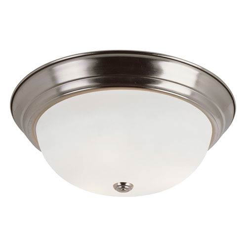 Trans Globe Lighting Brushed Nickel Button Frost 15 Inch Flush Mount