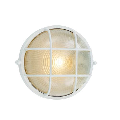 Trans Globe Lighting Gu-24 10-Inch Wide Round Bulkhead in White with Frosted Glass