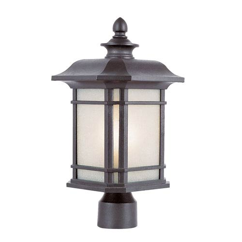 Corner Window 14 Inch Post Top Lantern -Black