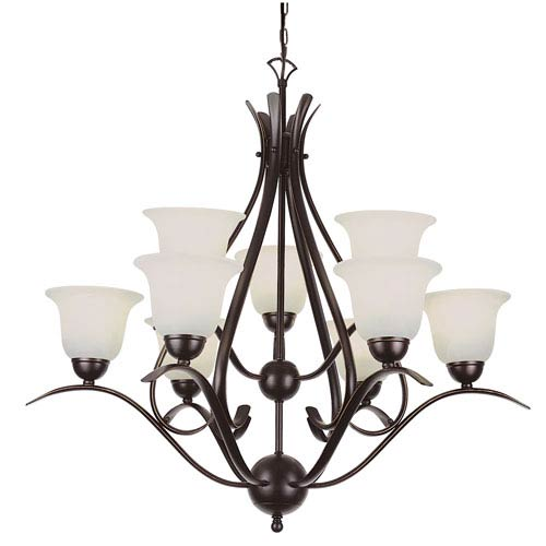 Trans Globe Lighting Energy Saving Ribbon Branched 2 Tier Nine-Light Chandelier In Bronze