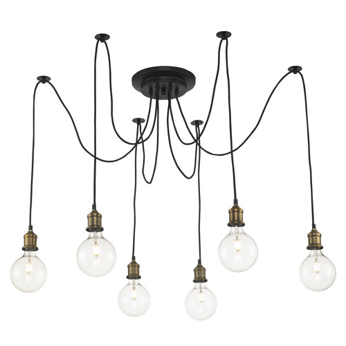 Cattail Antique Brass and Oil Rubbed Bronze Six-Light Pendant