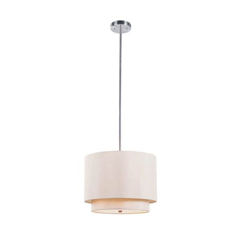 Tiered Shade 15 Inch Wide Mini Drop Pendant In Taupe -Brushed Nickel