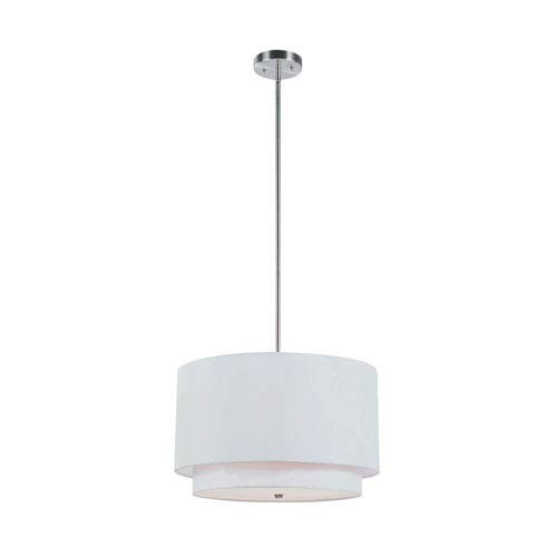 Tiered Shade 18 Inch Three-Light Pendant In Ivory -Brushed Nickel