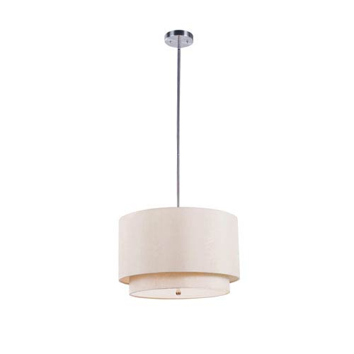Trans Globe Lighting Tiered Shade 18 Inch Three-Light Pendant In Taupe -Brushed Nickel
