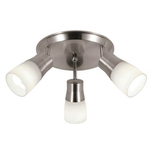 Opal Brushed Nickel Triple Directional Spot Three-Light Close to Ceiling