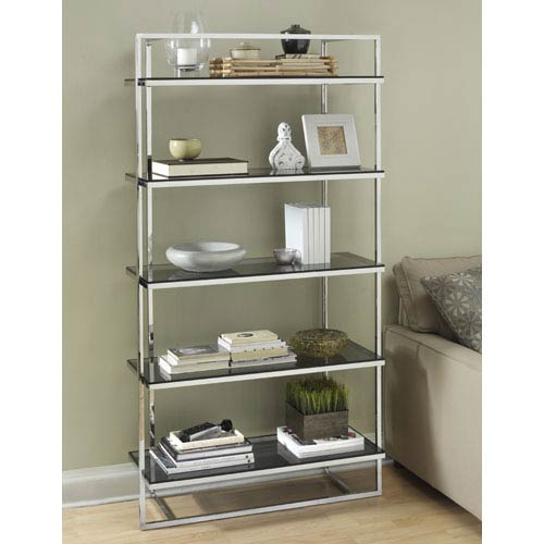 TAG Furnishings Group Manhattan Polished Stainless Steel Bookcase