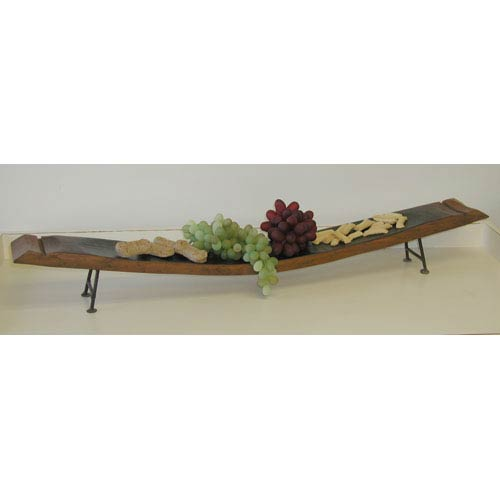 2-Day Designs Pine Wine Stave Server with Iron Feet