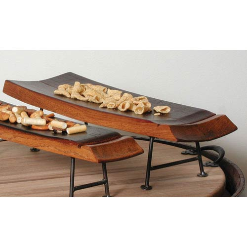 2-Day Designs Pine Mini Double Stave Server with Iron Feet