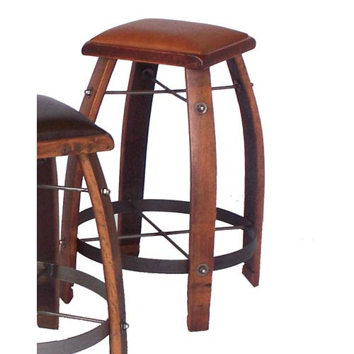 Pine 32-Inch Stool with Tan Leather Seat