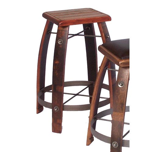 Pine 24-Inch Stool with Wood Seat