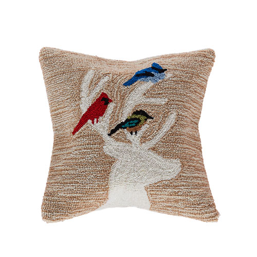 Frontporch Natural 18-Inch Deer and Friends Outdoor Pillow