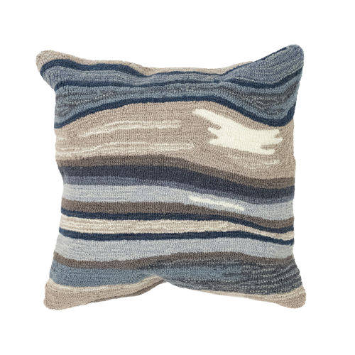 Liora Manne Frontporch Blue and Gray Ipanema Indoor/Outdoor Pillow