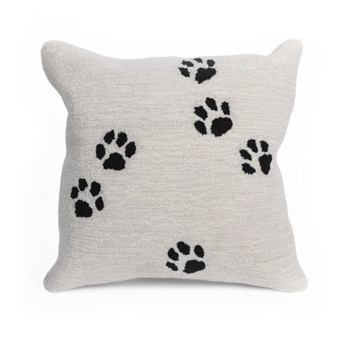 Frontporch Neutral 18-Inch Paw Prints Outdoor Pillow