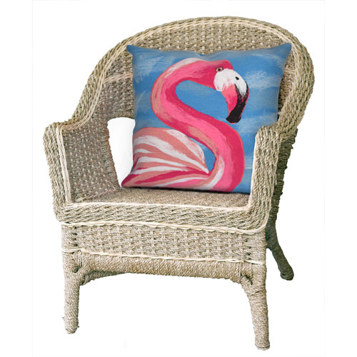 Visions III Ocean 20-Inch Flamingo Outdoor Pillow