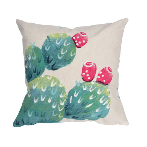 Visions III Cream 20-Inch Cactus Pear Outdoor Pillow