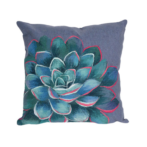 Visions III Lapis 20-Inch Succulent Outdoor Pillow