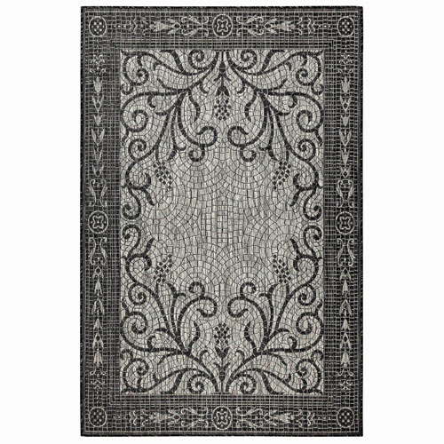 Carmel Silver Rectangular 4 Ft. 10 In. x 7 Ft. 6 In. Mosaic Outdoor Rug