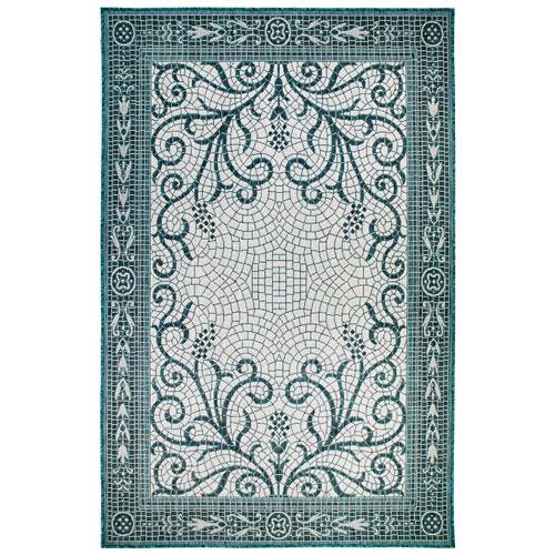 Carmel Teal Rectangular Mosaic Outdoor Rug