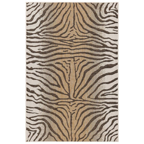Carmel Sand Rectangular Zebra Outdoor Rug