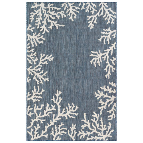 Carmel Navy Rectangular Coral Border Outdoor Rug