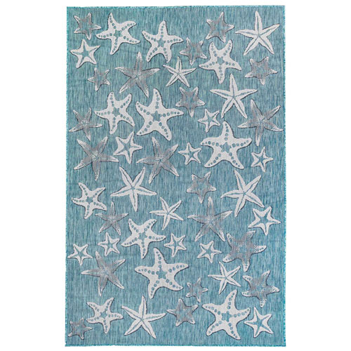 Carmel Aqua Rectangular Starfish Outdoor Rug