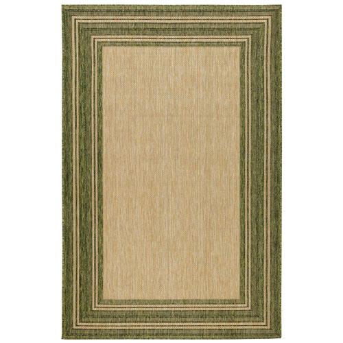 Green Multi Border Indoor/Outdoor Rug
