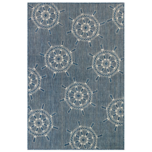 Carmel Silver Rectangular 7 Ft. 10 In. x 9 Ft. 10 In. Ship wheels Outdoor Rug