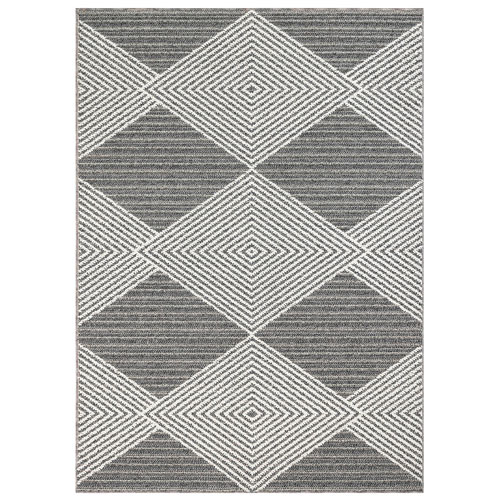 Cove Silver Rectangular 4 Ft. 10 In. x 7 Ft. 6 In. Tribal Diamond Outdoor Rug