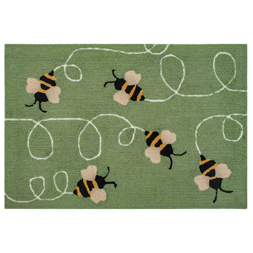 Frontporch Natural Rectangular 30 In. x 48 In. Buzzy Bees Outdoor Rug