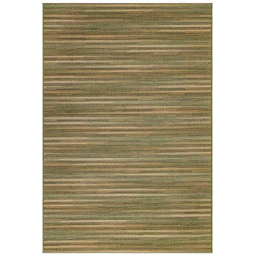 Marina Green Rectangular Stripes Outdoor Rug