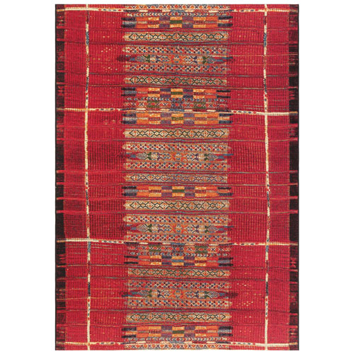 Marina Red Rectangular Tribal Stripe Outdoor Rug