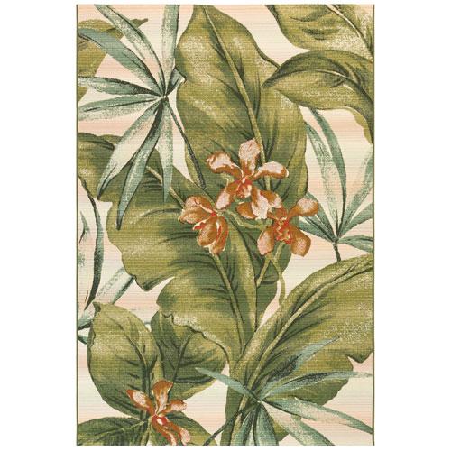 Marina Cream Tropical Leaf Indoor/Outdoor Rug