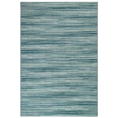 Marina Aqua Rectangular Stripes Outdoor Rug